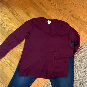 Dark maroon V-neck sweater